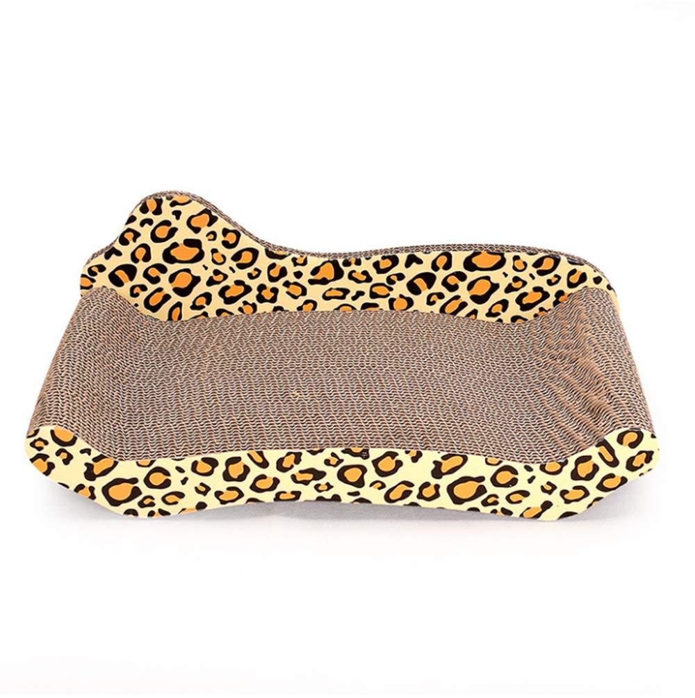 Leopard print L Leopard print L Hyue Corrugated Paper Cat Scratch Board Toy Cat Sofa Climbing Frame to Send Catnip Pet Supplies Pet Supplies (color   Leopard Print, Size   L)