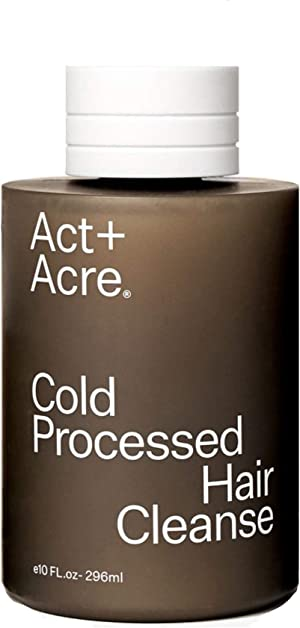 Act+Acre Cold Processed Hair Cleanse | Gentle Natural Shampoo for All Hair Types with Pump (10 Fl Oz / 296 mL) Color Safe, Vegan and Free of Sulfate, Silicone and Paraben