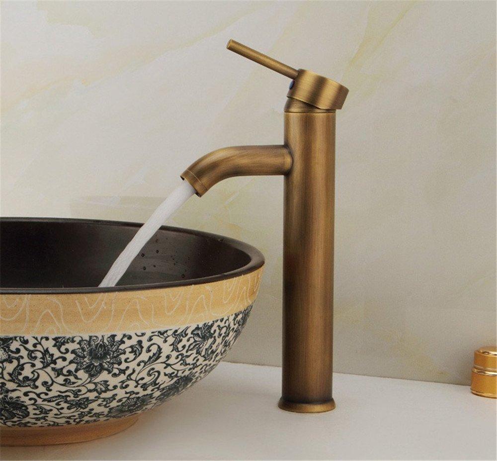 MMYNL TAPS MMYNL Waschtischarmatur Bad Mischbatterie Badarmatur Waschbecken Antike Antike Kupfer Einloch Cold-Hot Farbe einzigen Griff Badezimmer Waschtischmischer
