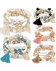 yunanwa 5 Pack Multilayer Bohemian Beaded Bangle Bracelet Crystal Charm Stretch Beach Stack-able Multi-Color Boho Bracelets Jewelry Set