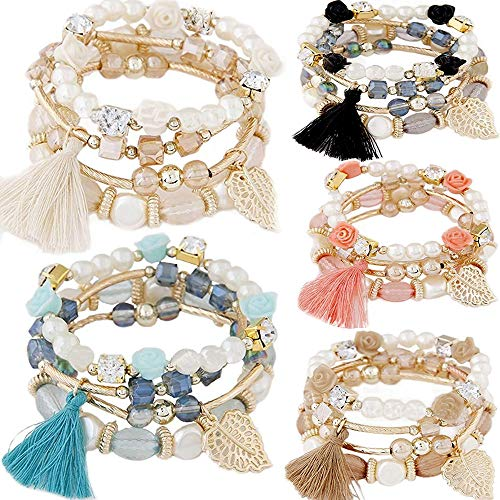 yunanwa 5 Pack Multilayer Bohemian Beaded Bangle Bracelet Crystal Charm Stretch Beach Stack-able Multi-Color Boho Bracelets Jewelry Set