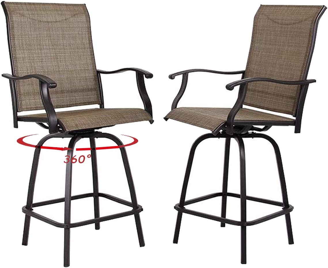 Top Space Patio Swivel Bar Stools Outdoor High bistro Stools Height Chairs 2 PCS All Weather Garden Furniture Bar Dining Chair,Brown,2 Pack