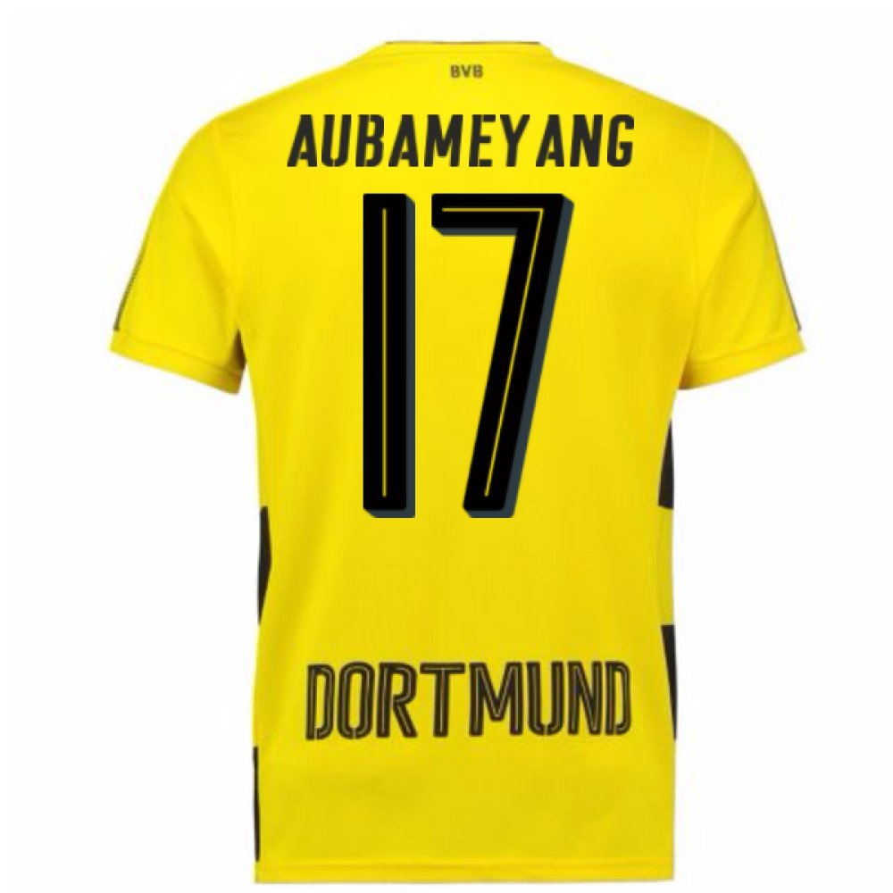 2017-18 Borussia Dortmund Home Short Sleeve Shirt (Aubameyang 17) B077PK3W8VYellow Medium Adults