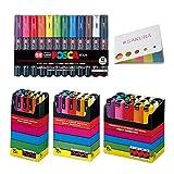 Uni-posca Paint Marker Pen, BUNDLE SET! Extra Fine Point / Set of 12, Fine Point / Set of 15, Medium Point / Set of 15, Bold Point / Set of 15 + Original 5 Colors Sticky Notes