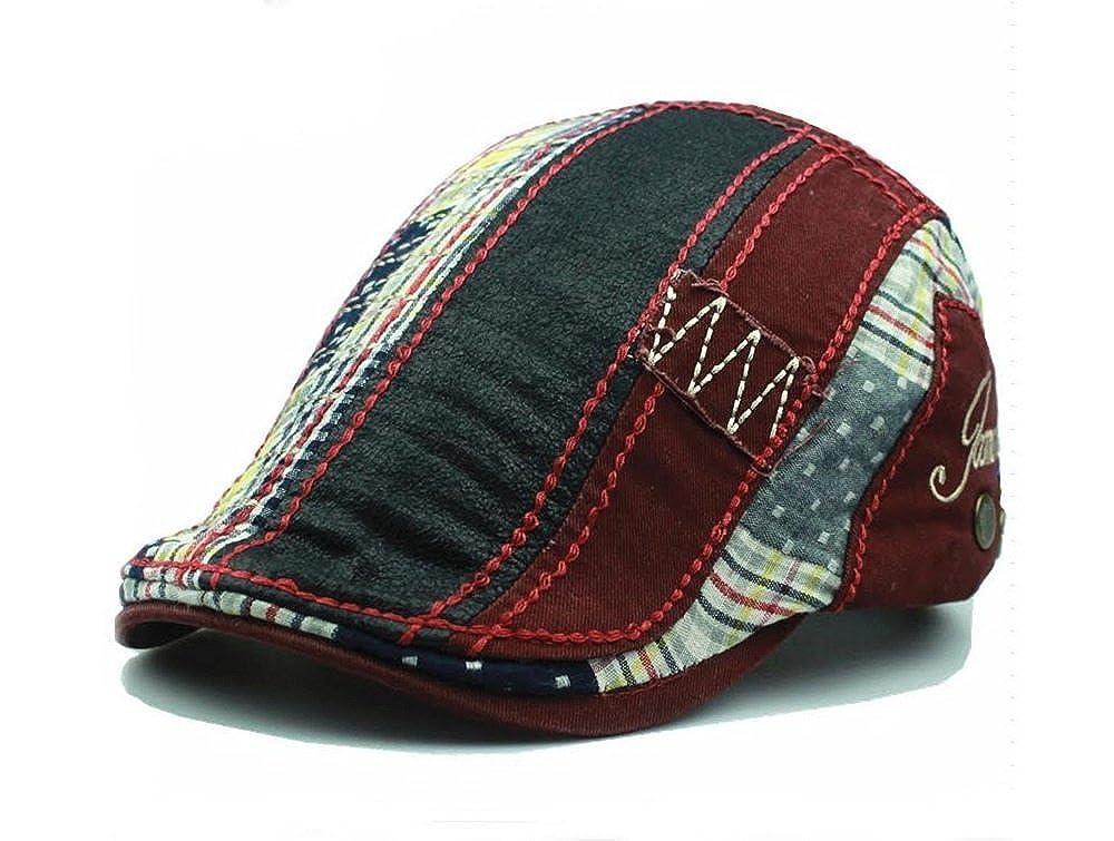 PitbullSyndicate Plaid Patchwork Cotton Flat Cap Cabbie Hat Newsboy Ivy Cap