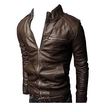 Slim Longues Manches En Cuir Hommes Classique Moto Veste Blouson Fit aq8p5wz