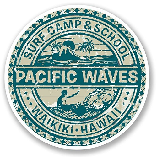 Hawaii Surf Camp Vinyl Stickers 2 pack 4 INCH (Waves Camp Surf)