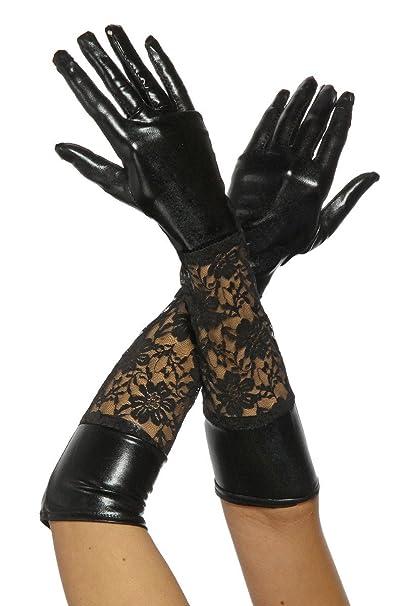 ccdd72df549a27 Lange Leder-Optik Handschuhe mit Spitze in schwarz: Amazon.de ...