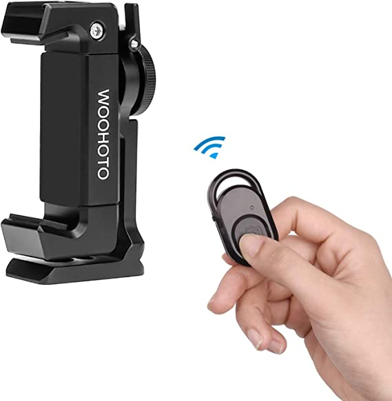 Woohot 360 Degree Rotation,Metal Phone Tripod Mount with Cold Shoe,Mount Pro Smartphone Holder Video Rig Tripod Mount Adapter Cellphone Holder for Tripod Newest Phone Holder Tripod Mount