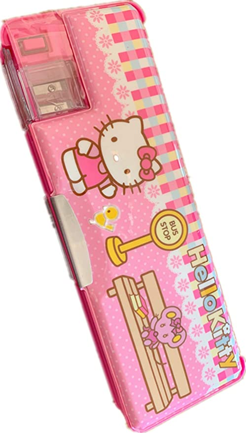 Hello Kitty Flash Multi Functional 2-Sided Holder Pencil Pen Case Box+Sharpener