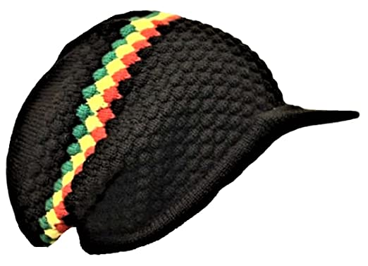 3c7536562c4a9 Black Rasta Reggae Knitted Beanie Hat with Peak Slouch Baggie Bob Marley  Style  Amazon.co.uk  Clothing