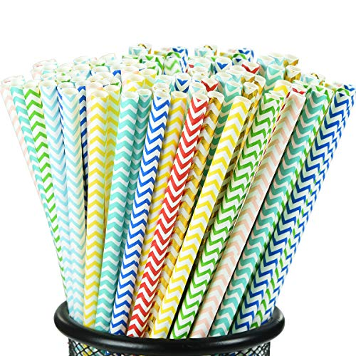 [100 pack] longzon Biodegradable Paper Straws, 8 Different Color Wave Patterns Paper Straws for Party, Birthday, Wedding, Bridal Shower, Baby Shower Supplies and Decorations -