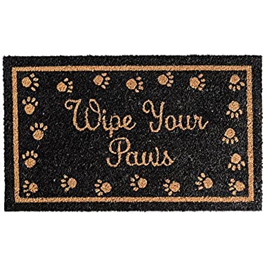MILLIARD 'Wipe Your Paws' Printed Coir Outdoor Entrance Doormat 18in.x30in.