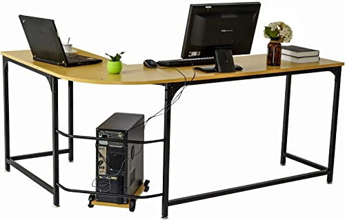 "DECOHOLIC Modern L-Shaped Home Office Desk 66 inch Sturdy Computer PC Laptop Table Corner Desk Workstation Larger Gaming Desk Easy to Assemble 66"" x 47.2"" x 29.5""Oak Board Black Leg"