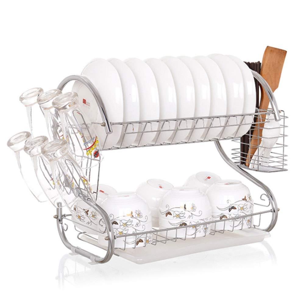 KingsleyW ステンレススチールダブルドレインボウルキッチン収納棚収納食器空気排水皿ラック (色 : Silver) B07SH5S1GX Silver