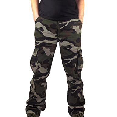 8ac3ac3a9eb RAISINGTOP Men Capri Pants Military Casual Camouflage Pocket Overalls  Pocket Sport Work Trouser Training Big and