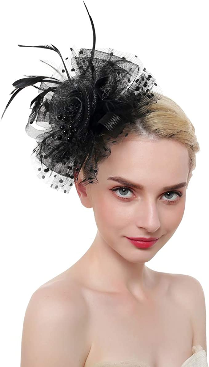 Ladies Women/'s Accessories Girls Beautiful Mesh Hat Flower Fascinator on Clip