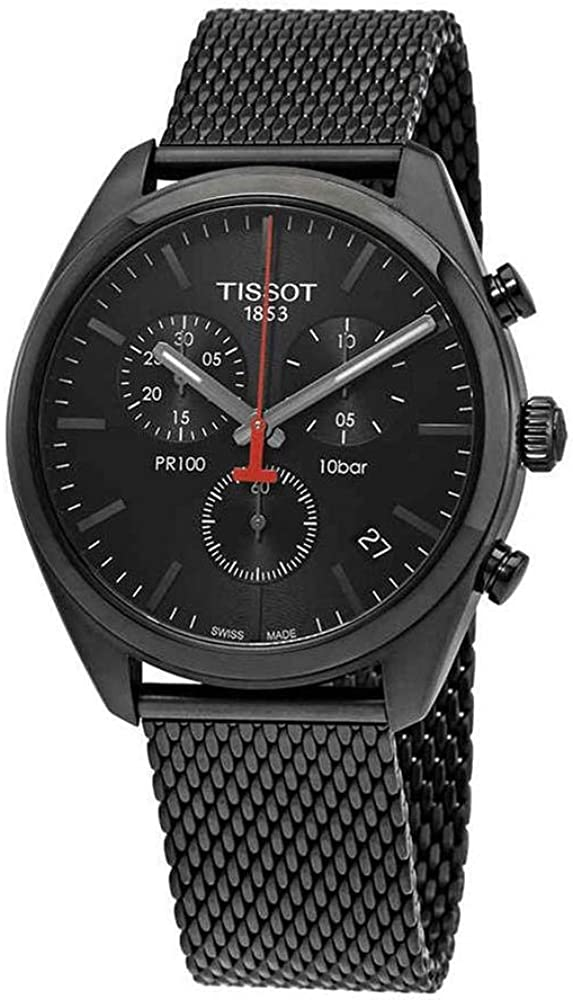 Reloj Tissot PR 100 de hombre, totalmente negro, con cronógrafo y correa de malla, ref. T1014173305100.