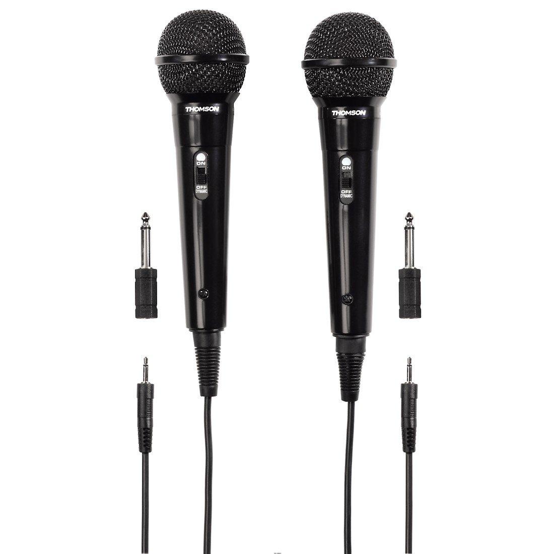 Thomson 00131772 2x Dynamisches Mikrofon M135D (Doppelpack, Nierencharakteristik, 3,5 mm Klinkenstecker, Kabellänäge 3 m) schwarz Hama audio video