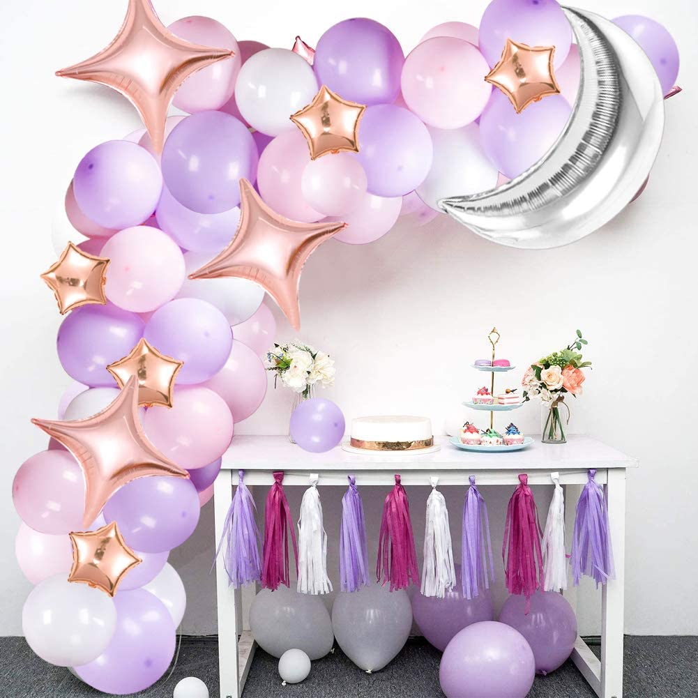 Gold Confetti Balloons for Baby Shower Party Decorations Twinkle Twinkle Little Star Theme Party JOYYPOP White Gold Balloon Garland Set with Moon and Star Balloons