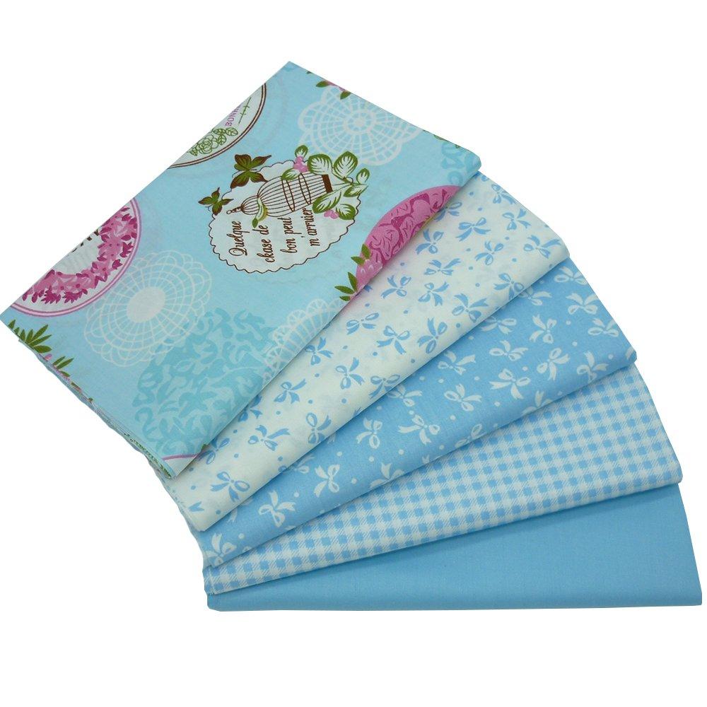 5pcs 15.7 x 19.7 Blue Cotton Fabric Fat Quarter Quilting Patchwork Tissue Kids Baby Bedding Textile For Sewing Tilda Doll SHENGZE