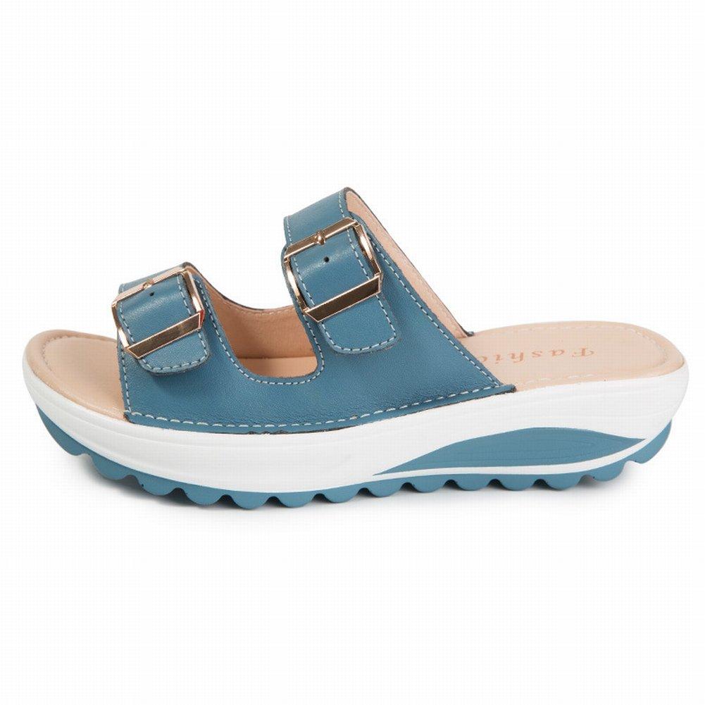 YTTY Female Sandalen Mode Sandalen Frauen Leder Hohe Frauen Sandalen  39|Blau
