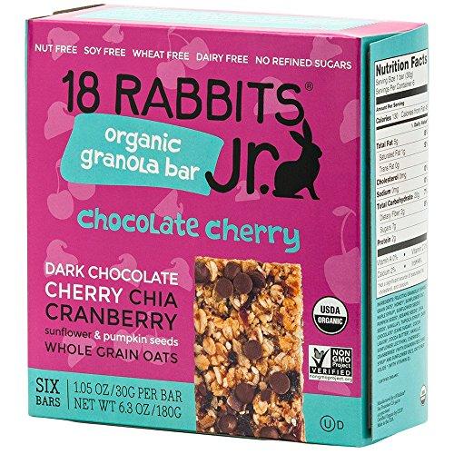 18 Rabbits Jr. Organic Gluten Free Granola Bar, Chocolate Cherry, 6-Count Box, 6.3 Ounce ()