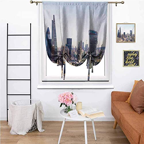 KFUTMD Custom Roman Shades Cityscape Aerial London View with Skyscrapers British Town Famous Urban Scenery Pale Blue Silver Tie Up Valance Curtains 35 x64 Inch