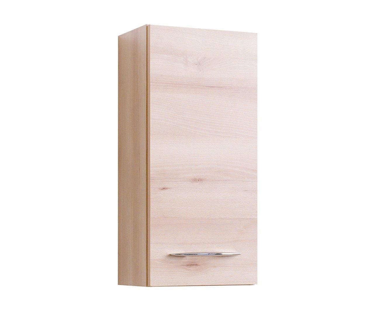Lifestyle4living Bad Hängeschrank in Buche Dekor   Badschrank mit Metallgriffen   Badezimmerschrank mit 1 Tür und 2 Einlegeböden