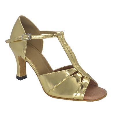 122b210bb31 Misu Women s Peep Toe Sandals Latin Salsa Tango Practice Ballroom Dance  Shoes with 3.0 quot  Heel