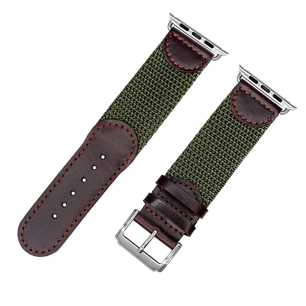 for Apple Watch 42mm, IVAPPON Men's Calfskin Leather and Nylon NATO Watch Strap Swiss-Army Style IWatch Band Regluar Length (Brown with Olive, 42mm)