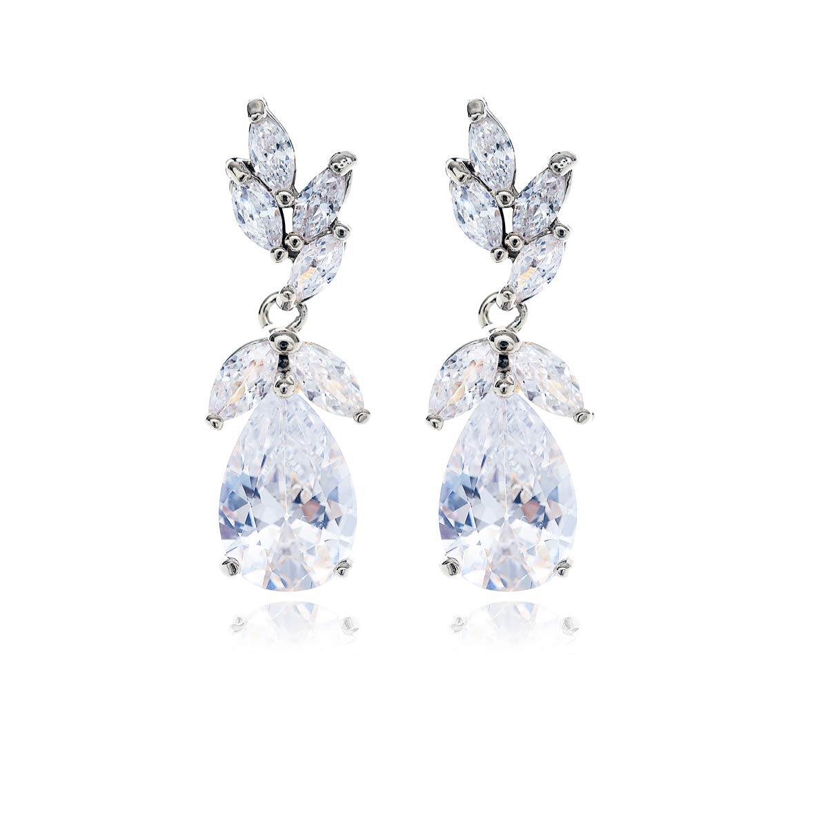 Silver Bridal Earring for Women - Elegant Teardrop Cubic Zirconia Cluster Floral Leaf CZ Crystal Rhinestone Wedding Earring for Bride Bridesmaids Mother of Bride Party Prom by AMYJANE