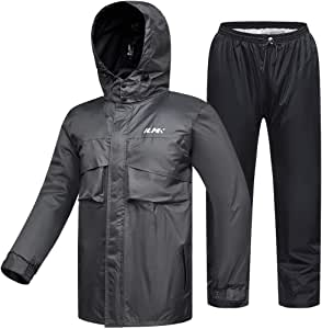 ILM Motorcycle Rain Suit Waterproof Wear Resistant 6 Pockets 2 Piece Set with Jacket and Pants Fits Men (Men's Large, Gray)