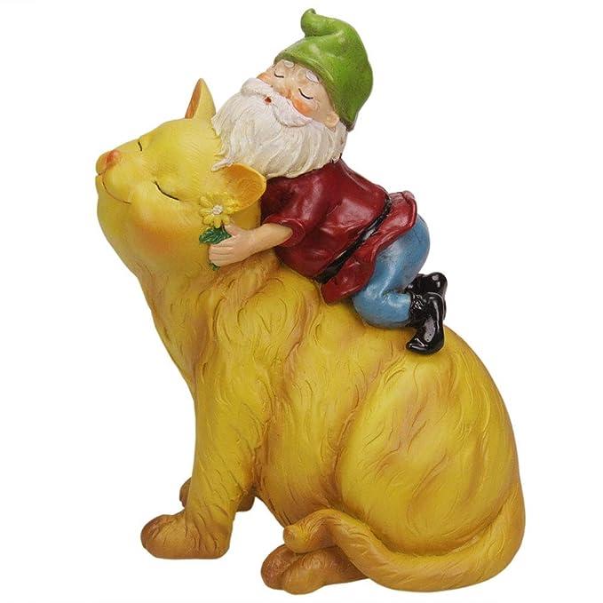 CCOQUS Garden Gnome Cat Statue - Garden Decor Outdoor Patio Lawn Yard Christmas Decoration