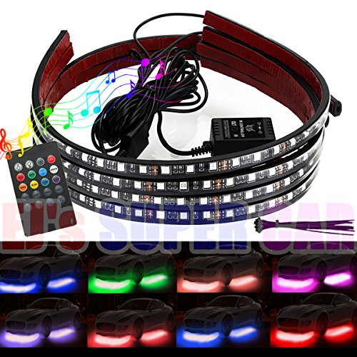 Undercar Light (4Pcs Car LED Neon Undercar Glow Lights Underglow Atmosphere Decorative Bar Lights kit Strip,Led Car Light Underglow Kit RGB Multicolor Neon Underbody 8 Color With Sound Active and Wireless Remote …)