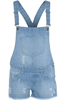 65a9eff64a WOMENS LADIES DENIM STYLE DUNGAREE SHORTS DRESS JUMPSUIT SIZE 8 10 12 14 16