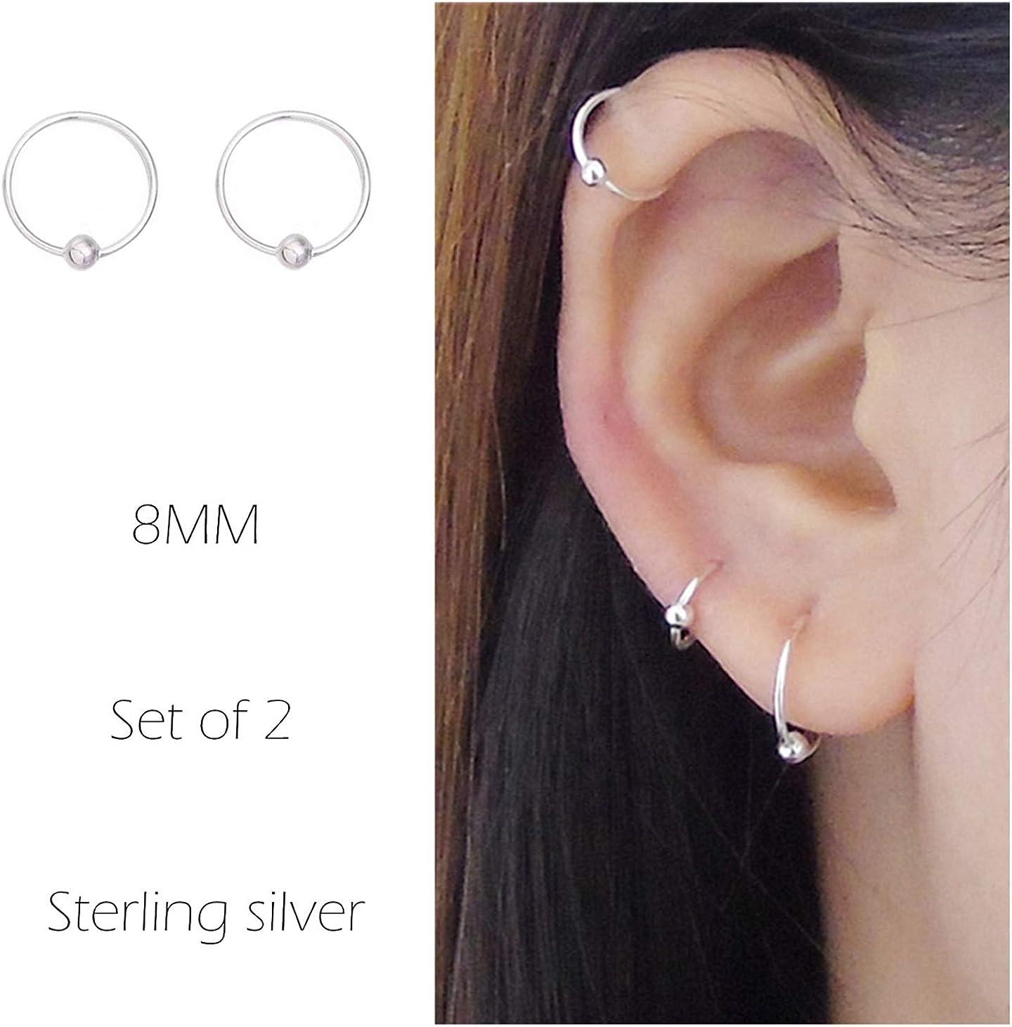 Amazon Com Sterling Cartilage Earrings Piercing Earring Nose