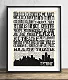 Detroit Landmarks Skyline and Typography Dictionary Art Print 8x10
