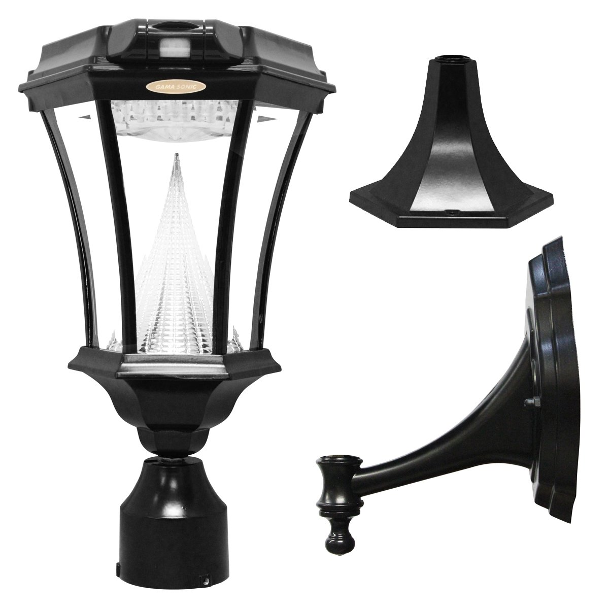 Gama Sonic Victorian Solar Outdoor LED Light Fixture with Motion Sensor, Bright-White LEDs, Pole/Post/Wall Mount Kit, Black Finish #GS-94FPW-PIR
