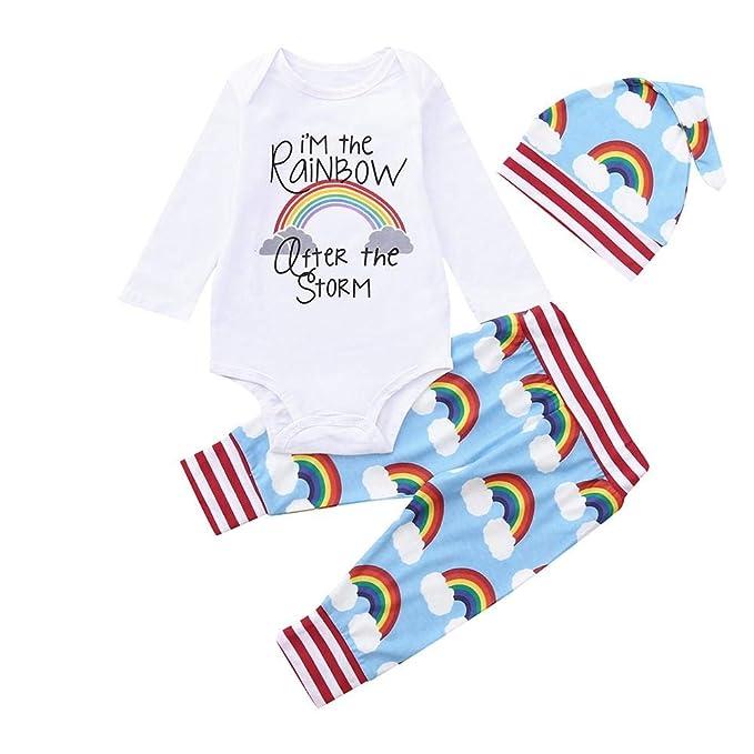Bebé Mono de Dormir Pijamas, Recién Nacido bebé Arco Iris Impresión ...