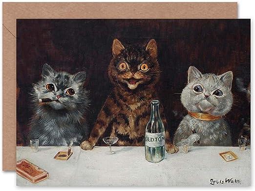 LOUIS WAIN CATS GREETINGS CARD