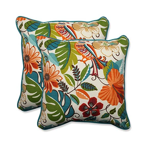 """Pillow Perfect Outdoor/Indoor Lensing Jungle Throw Pillows, 18.5"""" x 18.5"""", Off-White, 2 Pack - Includes two (2) outdoor pillows, resists weather and fading in sunlight; Suitable for indoor and outdoor use Plush Fill - 100-percent polyester fiber filling Edges of outdoor pillows are trimmed with matching fabric and cord to sit perfectly on your outdoor patio furniture - patio, outdoor-throw-pillows, outdoor-decor - 61RX0BUP3jL. SS570  -"""