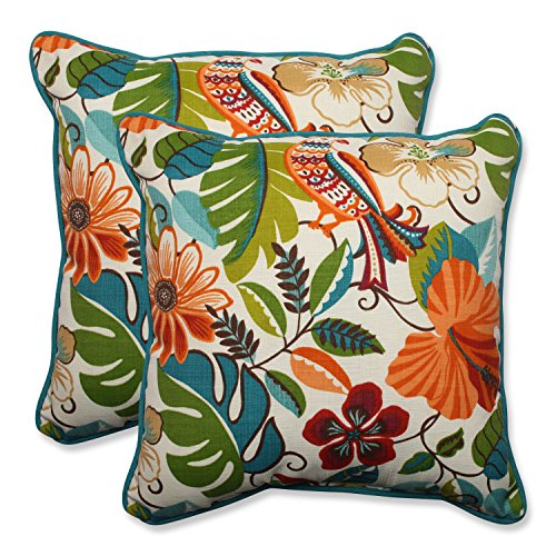 Pillow Perfect Outdoor/Indoor Lensing Jungle Throw Pillow, Set of 2, 18.5
