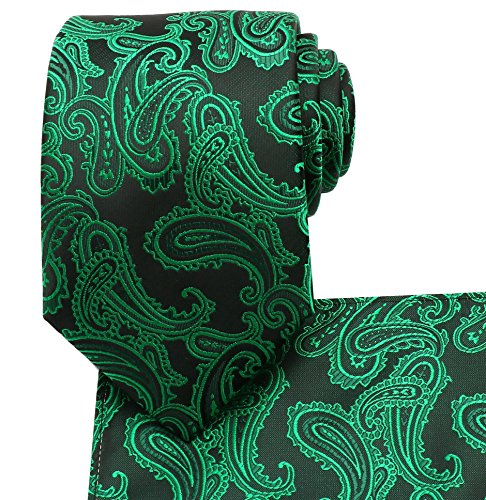Irish Wedding Handkerchief (KissTies Green Black Tie Paisley Necktie Irish Ties + Pocket Square)