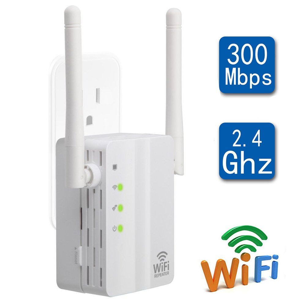 CARANTEE WiFi Range Extender- 300Mbps 1615 sq.ft (40 ft Range) 360 Degree Full Coverage  WiFi Repeater, With Dual External Antennas Complies  802.11b/g/n Simple Operation WiFi Extender by CARANTEE