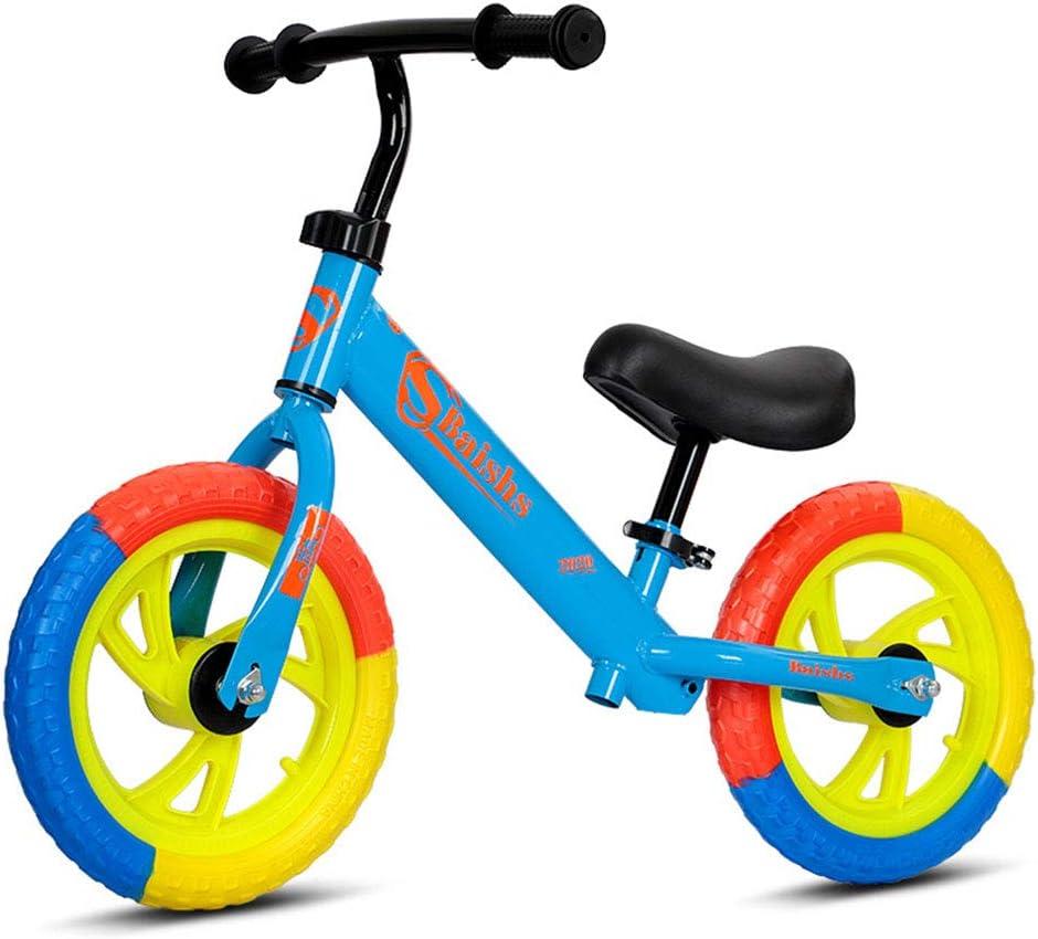 DFSSD Niños Primero Bicicletas, Equilibrio formación Bicicleta, Neumáticos de Colores, Smooth Bearings, Ahorra Esfuerzo, por 2-6 años de Edad Chico y niños pequeños,Azul