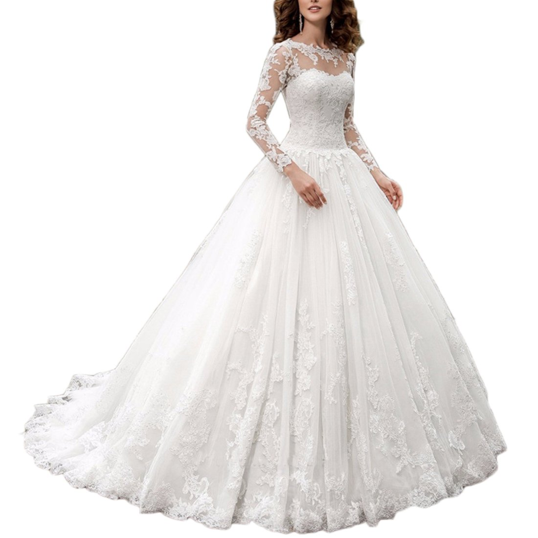 Westcorler Castle Princess China Wedding Dresses 2017 Lace Long Sleeve Plus Size Ball Gown (24w, Ivory)