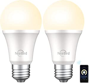 Nitebird Smart Light Bulb, Smart Bulbs That Work with Alexa, Google Home No Hub Required, Smart Bulb A19 Alexa Light Bulbs, 800LM Soft White (2700K), A19 Dimmable, 8W (75W Equivalent), 2 Pack