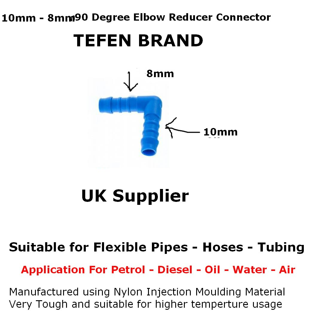 10mm - 8mm PLASTIC ELBOW BARBED REDUCER CONNECTOR FUEL HOSE JOINER PIPE JOINER TEFEN