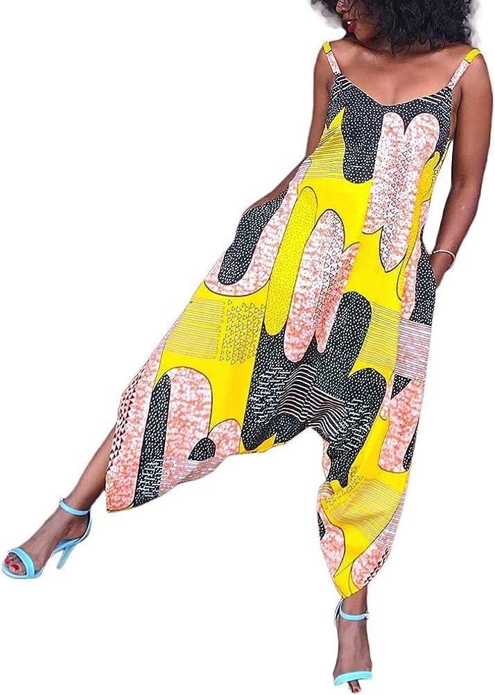 Joe Wenko Women Strap Wide Leg Pants Print Overalls Romper Jumpsuits